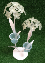 Green Hydrangea Flower Metal & Glass Tea Light Holder